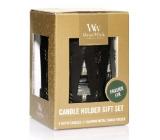 WoodWick Frasier Fir - Fraserova jedle vonná svíčka s dřevěným knotem petite 3 x 31 g + Bronzový tres svícen dárkový set