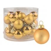 Sada skleněných baněk zlatých 2 cm, 12 ks