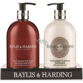 Baylis & Harding Čierne korenie a Ženšen tekuté mydlo 500 ml + mlieko na ruky 500 ml, pre mužov kozmetická sada