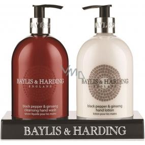 Baylis & Harding Čierne korenie a Ženšen tekuté mydlo 500 ml + mlieko na ruky 500 ml kozmetická sada