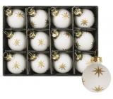 Banky sklenené biele s hviezdou súprava 3 cm, 12 kusov