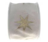 Ditipo Stuha látková s drôtikom biela zlaté hviezdy 2 mx 40 mm