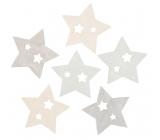 Hviezdy drevené 6 cm, 6 kusov
