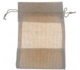 Vrecúško s priehľadom imitácia juta hnedý 18,5 x 13,5 cm 669