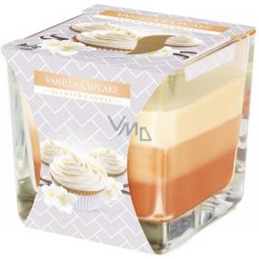 BISPOL Vanilla Cupcake - Vanilkový košíček trojfarebná vonná sviečka sklo, doba horenia 32 hodín 170 g