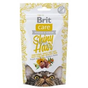 Brit Care Cat Snack Shiny Hair Losos maškrtu polomäkké doplnkové krmivo pre mačky 50 g