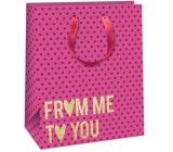 Ditipo Darčeková papierová taška ružová, zlatý nápis 26,4 x 13,6 x 32,7 cm QAB Glitter