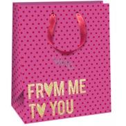 Taška darčeková QAB Glitter ružová zlatý nápis