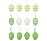 Vajíčka plastová zelená na zavesenie 4 cm, 12 kusov v sáčku s 2 kytičkami