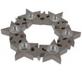 Svietnik Hviezdy v kruhu, drevený, sivý 310 mm na 6 kusov čajových sviečok