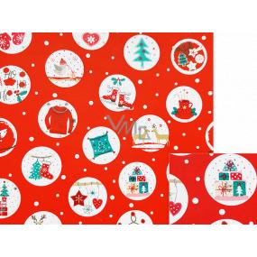 Nekupto Darčekový baliaci papier 70 x 200 cm Vianočný červený stromček, korčule, darčeky v bielych kolieskach