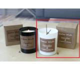 Lima Natur Wick Black & White Vanilka a škorica Aróma sviečka drevený knôt biela 175 g 1 kus