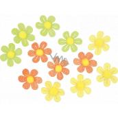 Kvetinky samolepiace s glitrami 3 cm, 12 kusov v sáčku