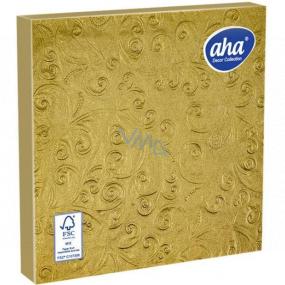 Aha Papierové obrúsky 3 vrstvové 33 x 33 cm 15 kusov Razené zlaté