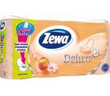 Zewa Deluxe Aqua Tube Peach Broskev parfémovaný toaletní papír 3 vrstvý 150 útržků 8 kusů, rolička, kteru můžete spláchnout