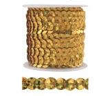 Dekoračné flitre zlaté 5 mm viazané, 3 m