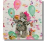 Me to You Blahopřání do obálky 3D Medvěd s balónky a korunou 15,5 x 15,5 cm