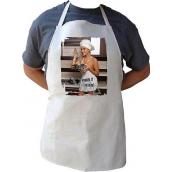 Bohemia Gifts Kuchynská zástera s potlačou Pomôžem ti s varením žena, dĺžka 75 cm