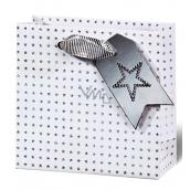 BSB Luxusná darčeková papierová taška 14,5 x 15 x 6 cm Vianočné holografické hviezdy VDT 412 - CD
