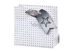 BSB Luxusné vianočné darčeková papierová taška 14,5 x 15 x 6 cm holografické hviezdy VDT 412 - CD
