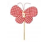Motýľ látkový zápich 8 cm + špajle Kárová