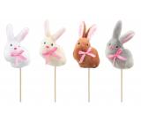 Zajac plyšový zápich 9 cm + špajle rôzne farby 1 kus