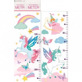 Samolepky na stenu detský meter Jednorožec do 120 cm