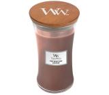 Woodwick Stone Washed Suede - sprané semiš vonná sviečka s dreveným knôtom a viečkom sklo veľká 609 g