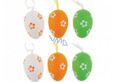 Vajíčka plastová bielo-oranžovo-zelená na zavesenie 6 cm, 6 kusov v sáčku