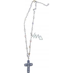 Bižutéria Náhrdelník strieborný s modrými kryštálmi s príveskom kríž 40 cm