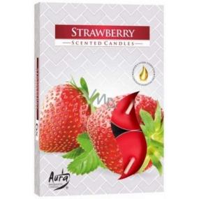 BISPOL Aura Strawberry - Jahody vonné čajové sviečky 6 kusov