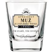 Nekupto Liga Pravých Gentlemanů Whisky sklenička Opravdový muž je jako dobrá whisky - Čím starší, tím cennější 7 x 7 x 9 cm