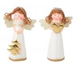 Anjel v bielych pletených šatách na postavenie 13 cm 1 kus