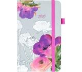 Albi Diár 2020 vreckový s gumičkou Akvarelové kvetmi 15 x 9,5 x 1,3 cm