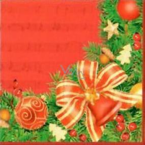 Nekupto Papierové obrúsky 3 vrstvové 33 x 33 cm 20 kusov červené s mašľou