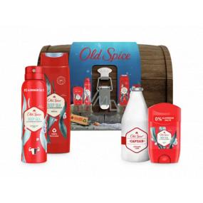 Old Spice Deep Sea Wooden Chest dezodorant stick 50 ml + dezodorant sprej 150 ml + 2v1 sprchový gél na telo a vlasy 250 ml + Captain voda po holení 100 ml + truhla, kozmetická sada pre mužov
