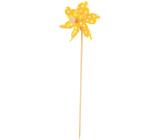 Veterník s veľkými bodkami žltý 9 cm + špajle 1 kus