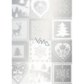 Ditipo Darčekový baliaci papier 70 x 500 cm Vianočné strieborný Vianočné motívy
