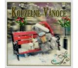 Me to You Blahoželania do obálky 3D Prianie k Vianociam, Vianočné medveď s darčekom na lavičke 15,5 x 15,5 cm