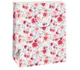 Ditipo Darčeková papierová taška 26,4 x 13,6 x 32,7 c biela, červené ruže QAB