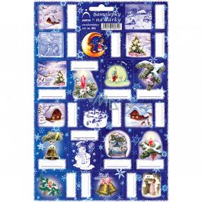 Arch Chaloupka tmavo modré vianočné samolepky na darčeky 19 etikiet 1 arch