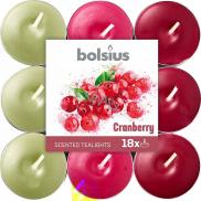 Bolsius Aromatic Cranberry - Brusnica vonné čajové sviečky 18 kusov, doba horenia 4 hodiny