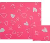 Nekupto Darčekový baliaci papier 70 x 150 cm Ružový s bielymi srdiečkami