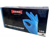 Aero Exacomp Rukavice hygienické jednorázové nitrilové antialergénne nepúdrované, veľkosť M, box 100 kusov modré