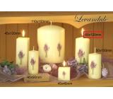 Lima Kvetina Levanduľa vonná sviečka slonová kosť s obtiskom levandule valec 60 x 120 mm 1 kus