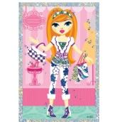 Vyškrabávací obrázok bábiky s 2 kabelkami 21,5 x 11 cm